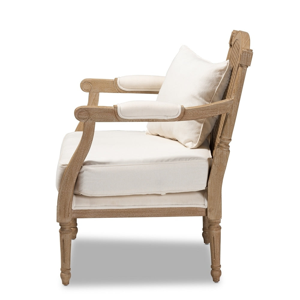 Clemence French Provincial Ivory Fabric Upholstered Wood Armchair - RoomsandDecor.com