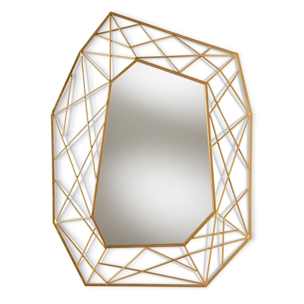 Contemporary Antique Gold Geometric Wall Mirror - RoomsandDecor.com