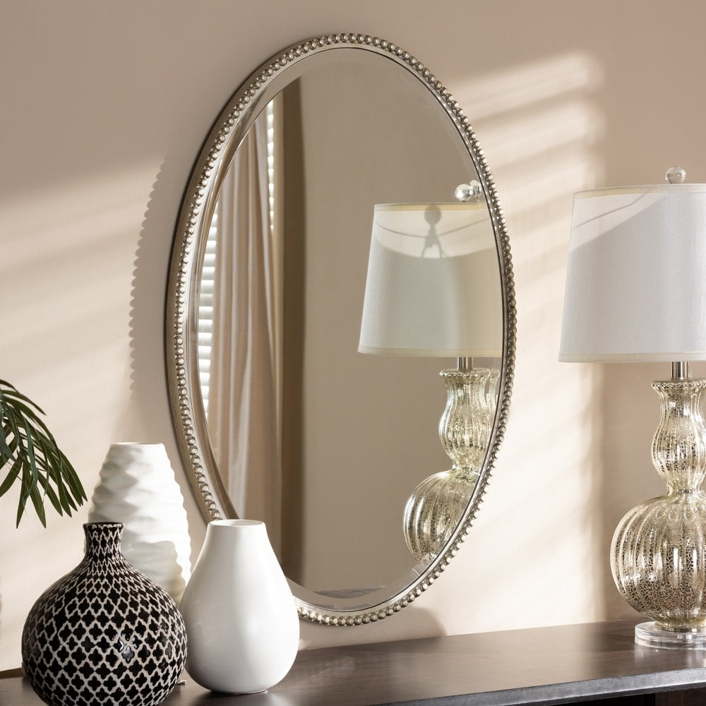 Contemporary Antique Silver Oval Wall Mirror - RoomsandDecor.com