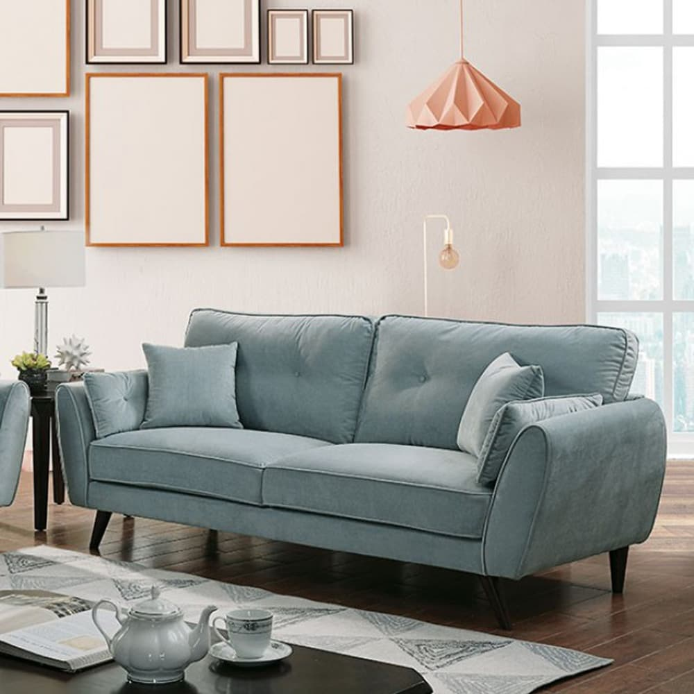 Contemporary Button Tufted Flannelette Wood Sofa with Angled Legs, Blue - RoomsandDecor.com