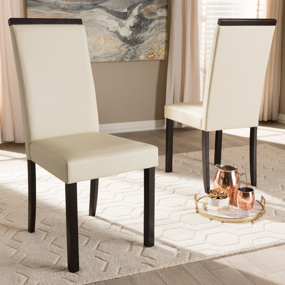 Contemporary Cream Dining Chair 2-Piece Set by Baxton Studio