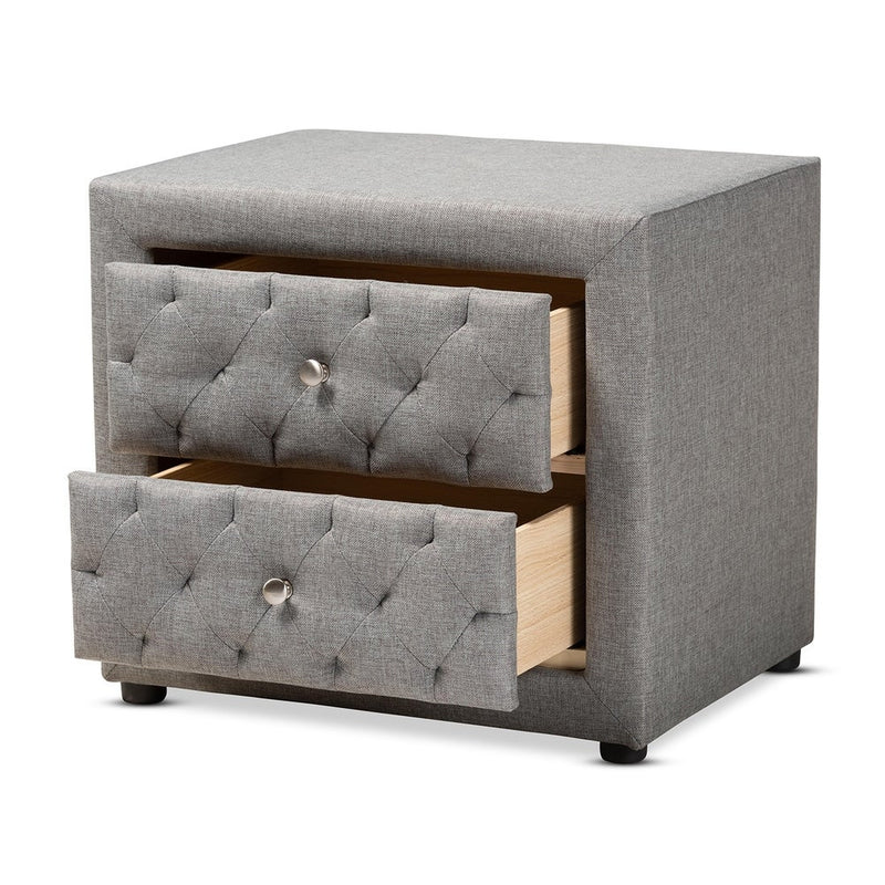 Contemporary Fabric 2-Drawer Nightstand - RoomsandDecor.com
