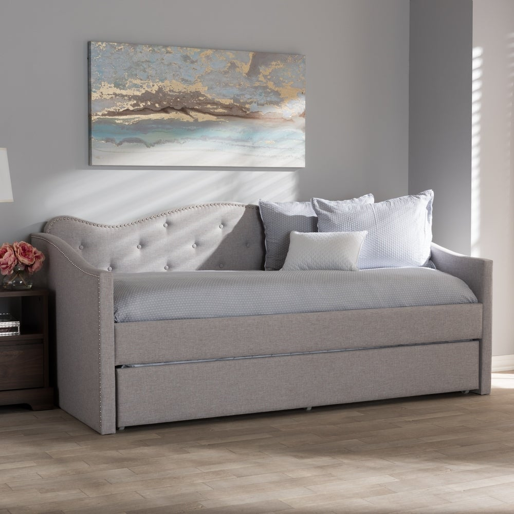 Contemporary Fabric Daybed with Trundle by Baxton Studio - Beige - RoomsandDecor.com