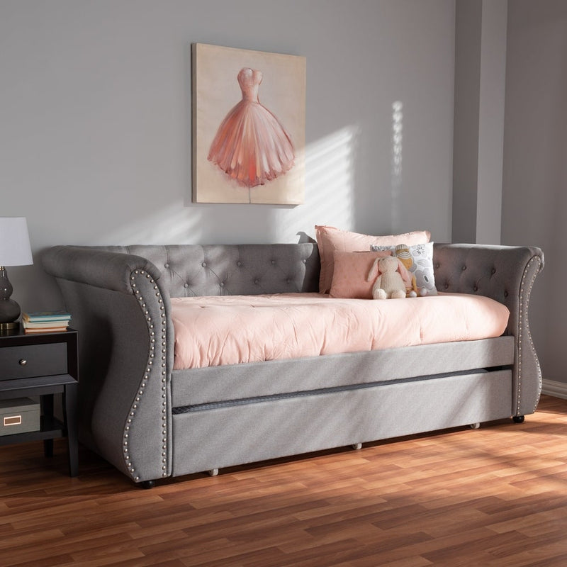 Contemporary Fabric Daybed with Trundle by Baxton Studio - Grey - RoomsandDecor.com