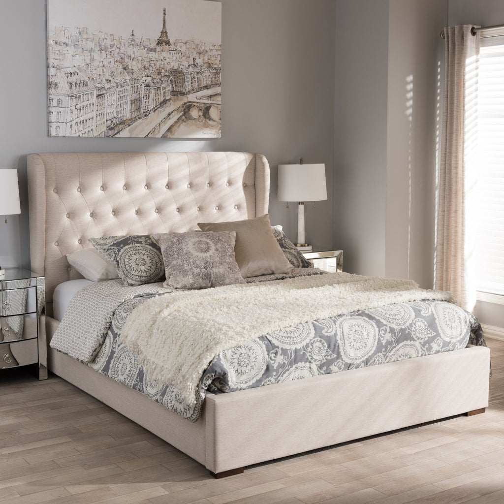 Tracy Contemporary Fabric Queen Platform Bed - RoomsandDecor.com