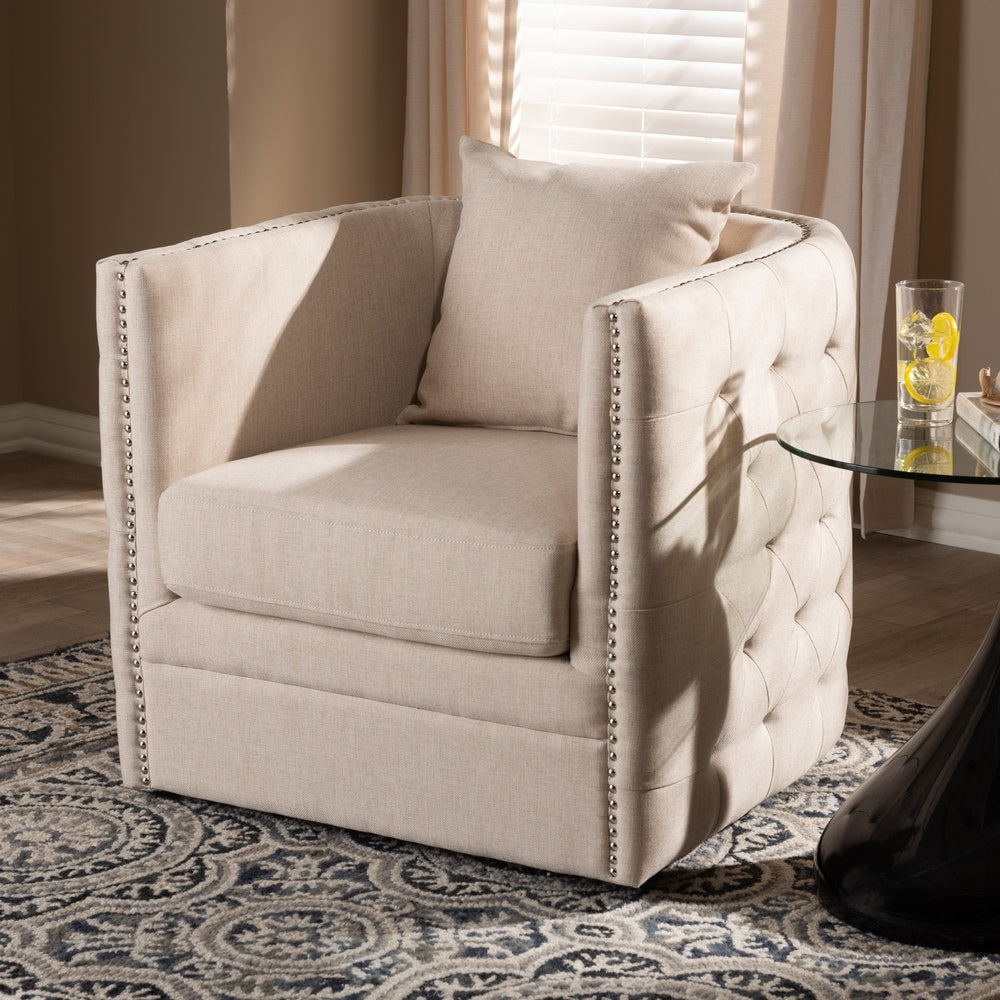 Contemporary Fabric Swivel Chair - Grey - RoomsandDecor.com
