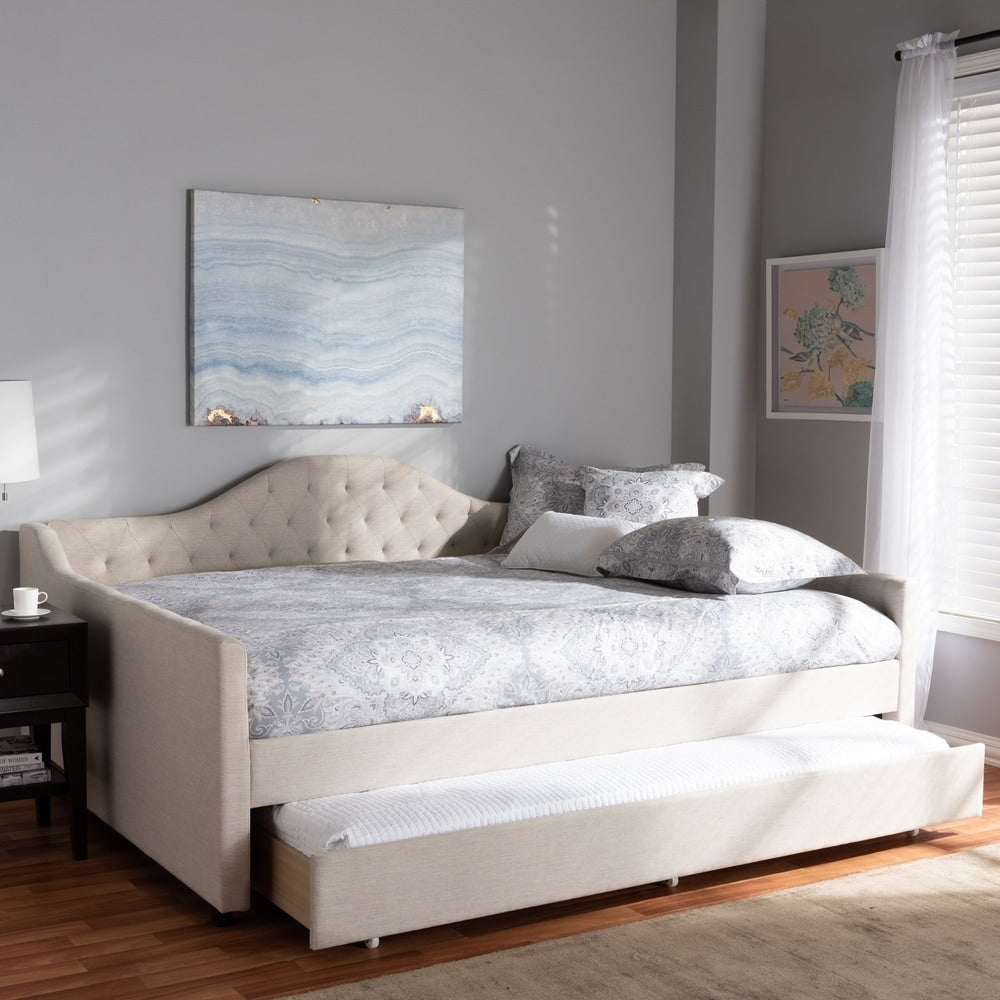 Contemporary Fabric Upholstered Daybed with Trundle - RoomsandDecor.com