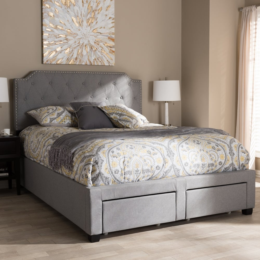 Contemporary Grey Fabric Storage Queen Bed - RoomsandDecor.com