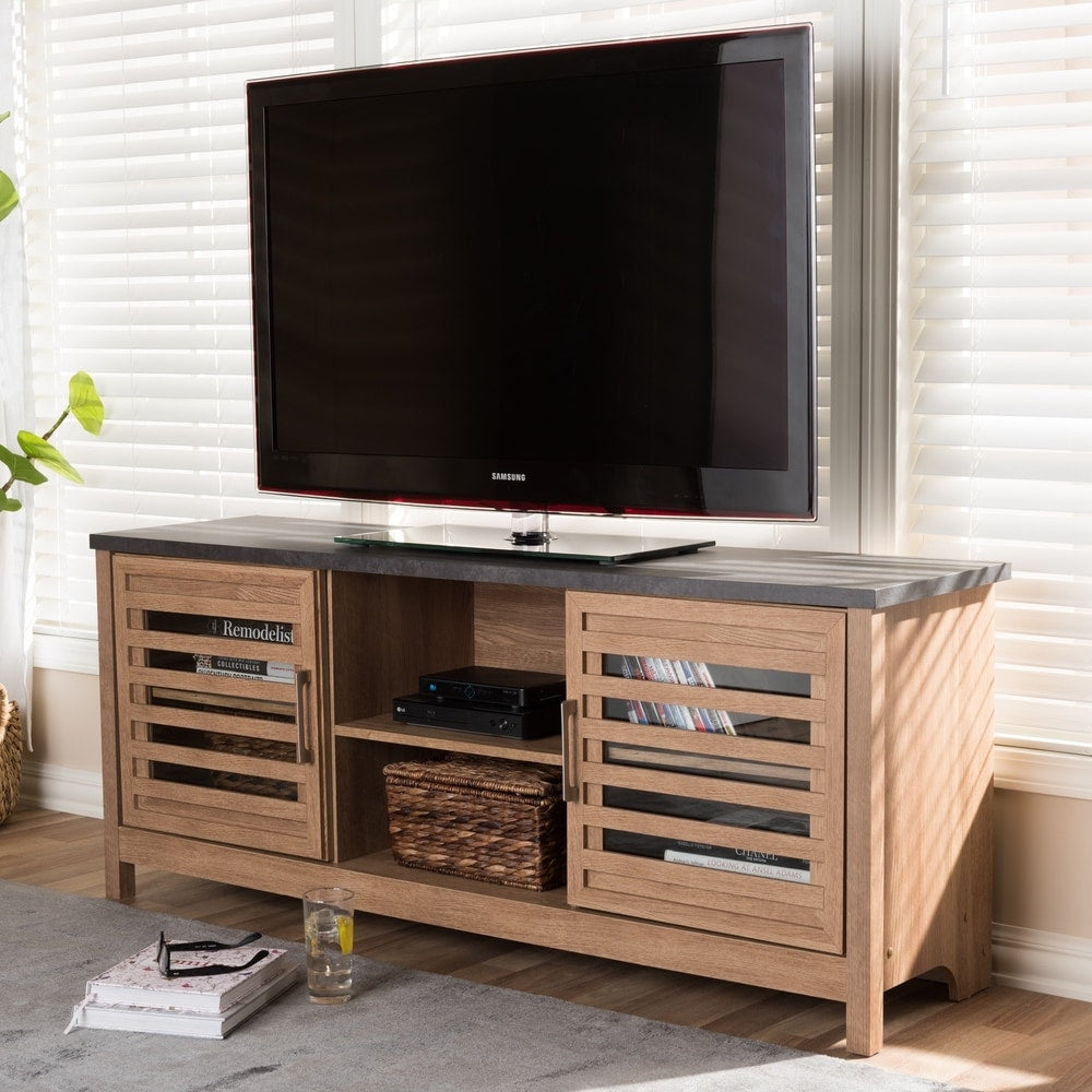 Contemporary Light Brown and Grey Finished TV Stand - RoomsandDecor.com