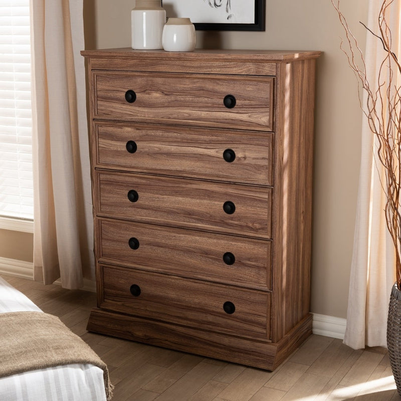 Brown Wood 5-drawer Chest - RoomsandDecor.com