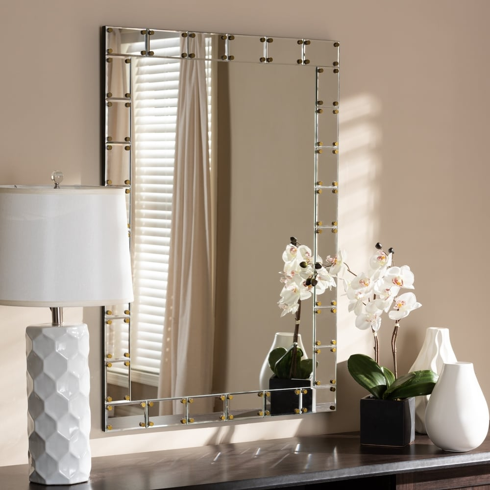 Contemporary Silver Rectangular Tile Wall Mirror - RoomsandDecor.com