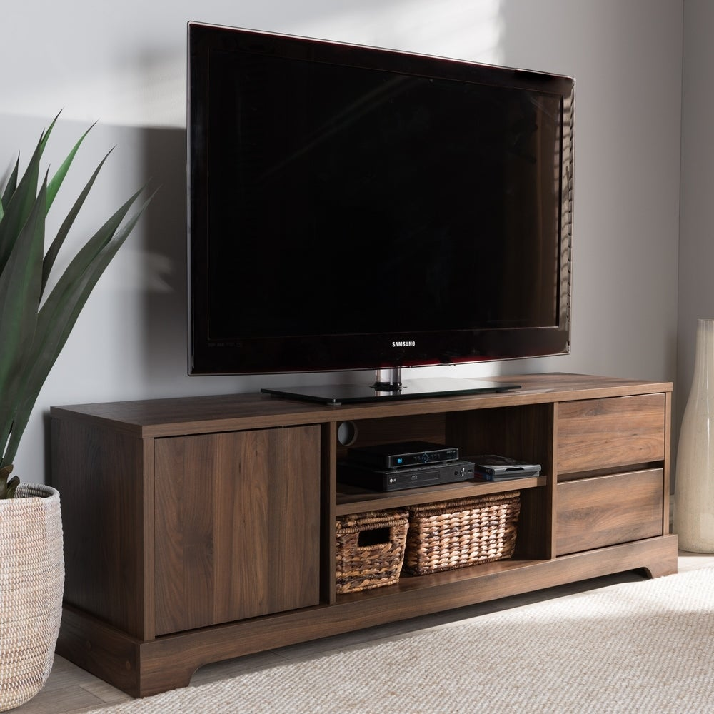 Contemporary Walnut Brown Finished Wood TV Stand - RoomsandDecor.com