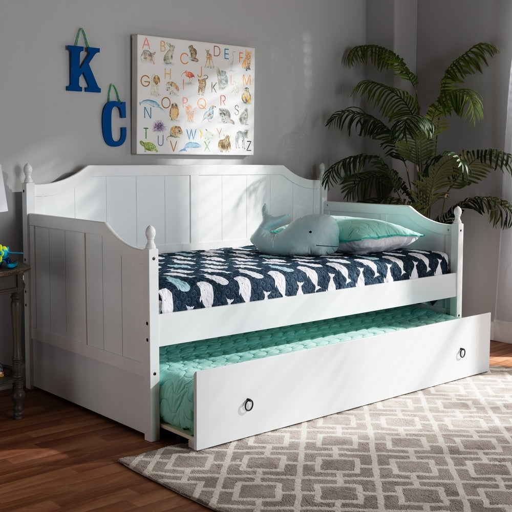 Trumbune Cottage Farmhouse Daybed with Trundle - White - RoomsandDecor.com