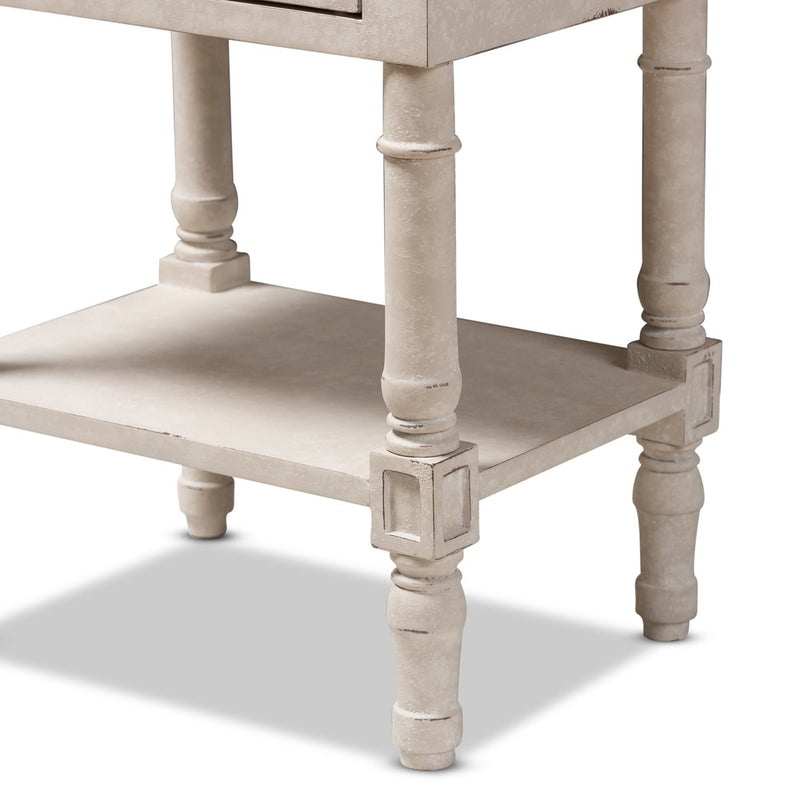 Country Cottage Whitewashed 2-Drawer Nightstand - RoomsandDecor.com