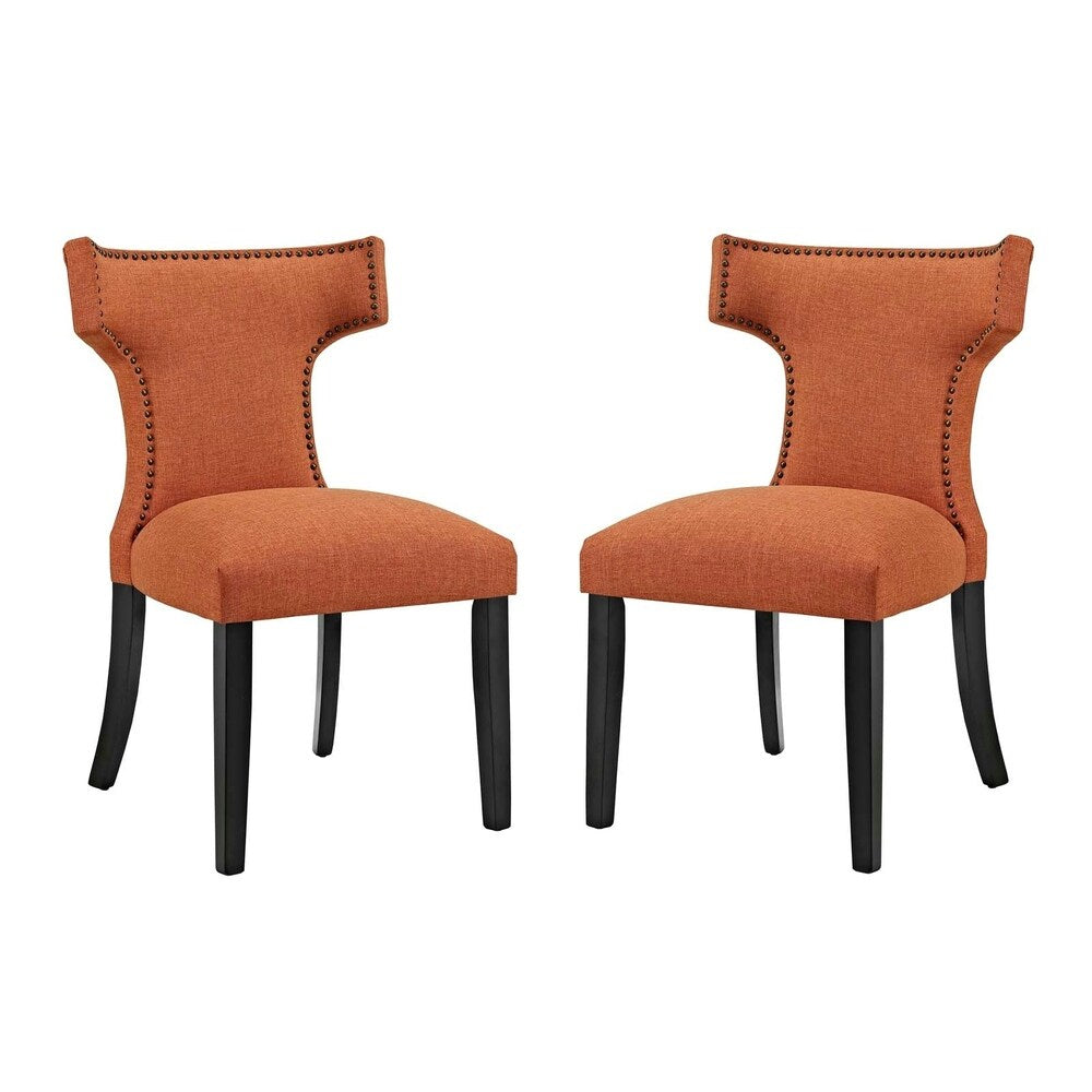 Curve Dining Side Chair Fabric Set of 2 - n/a
