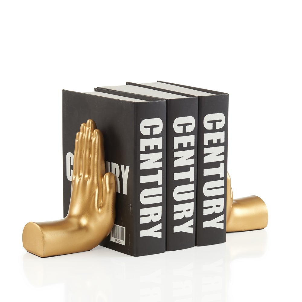 "Danya B. Antique Gold ""Hands"" Bookend Set of 2"