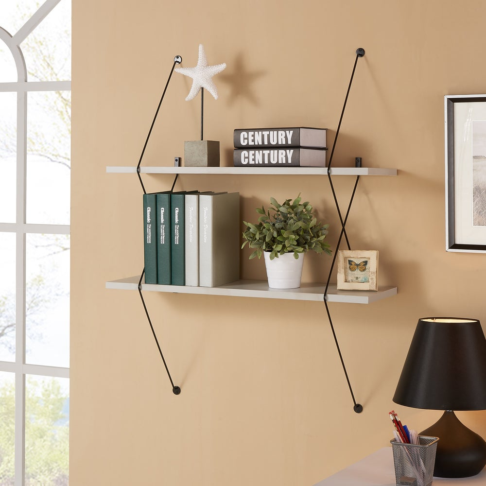 Danya B. Contemporary Two Level Grey Shelving System