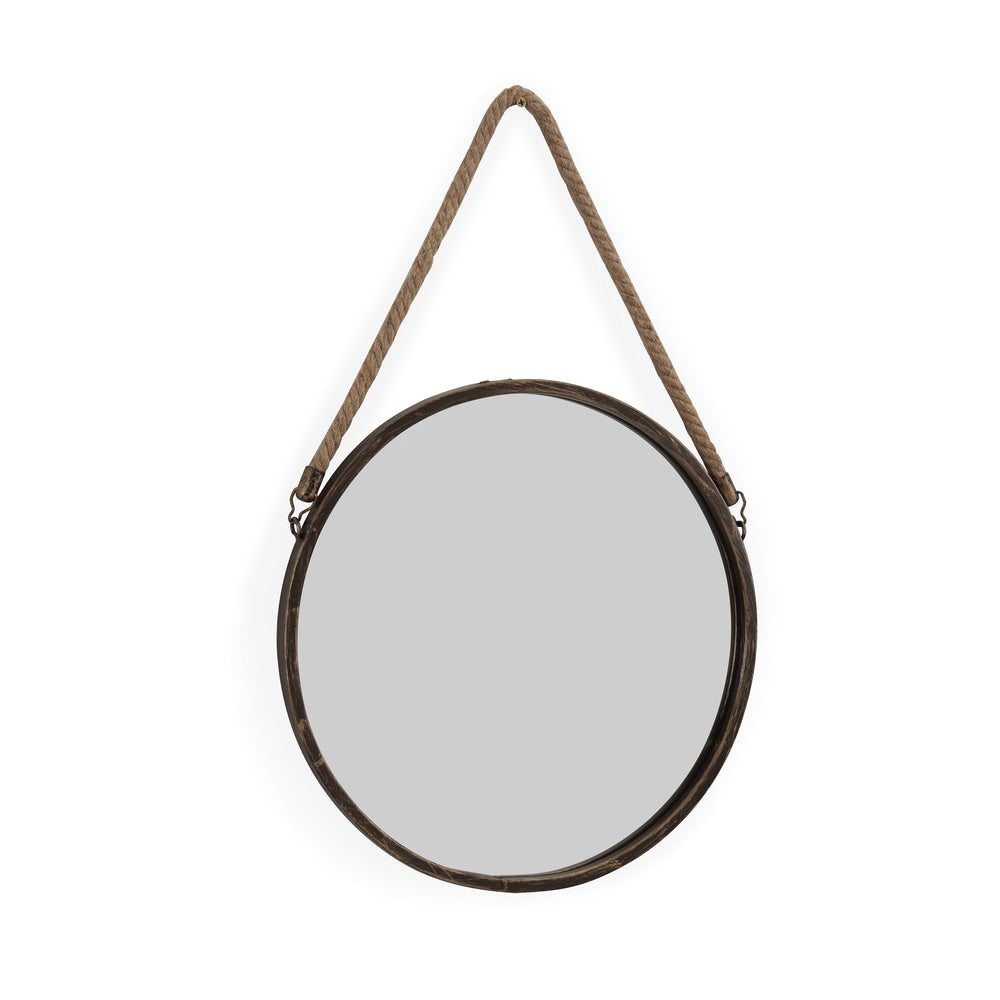 15-inch Hanging Rope Round Mirror