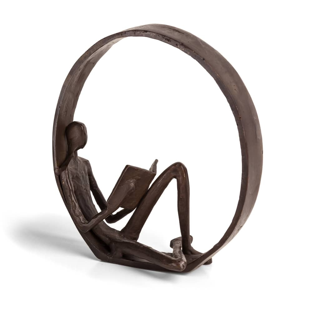 Encircled Reader Iron Sculpture