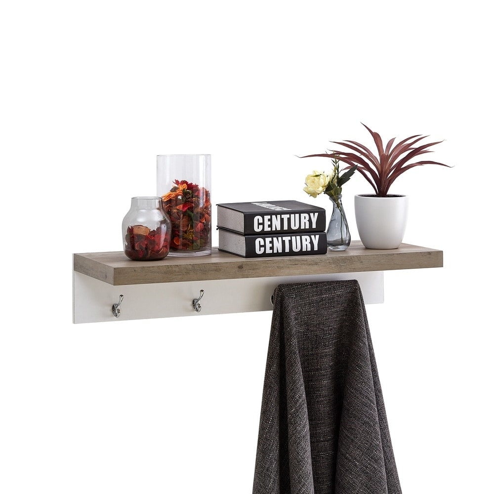 Wall-Mounted Coat Rack with Shelf - Grey Oak and White