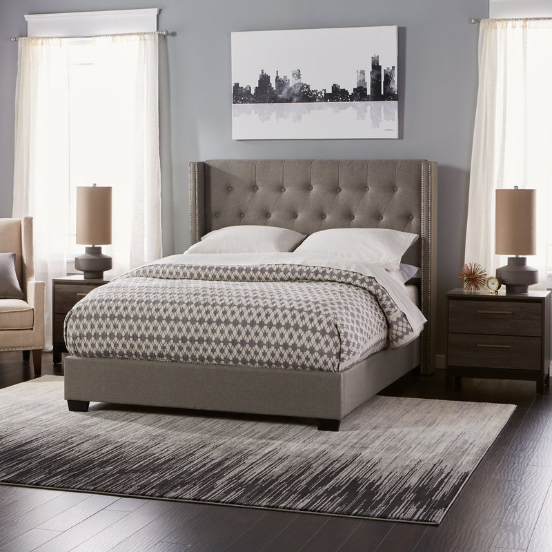 Diamond Tufted Wingback Bed in Grey - RoomsandDecor.com