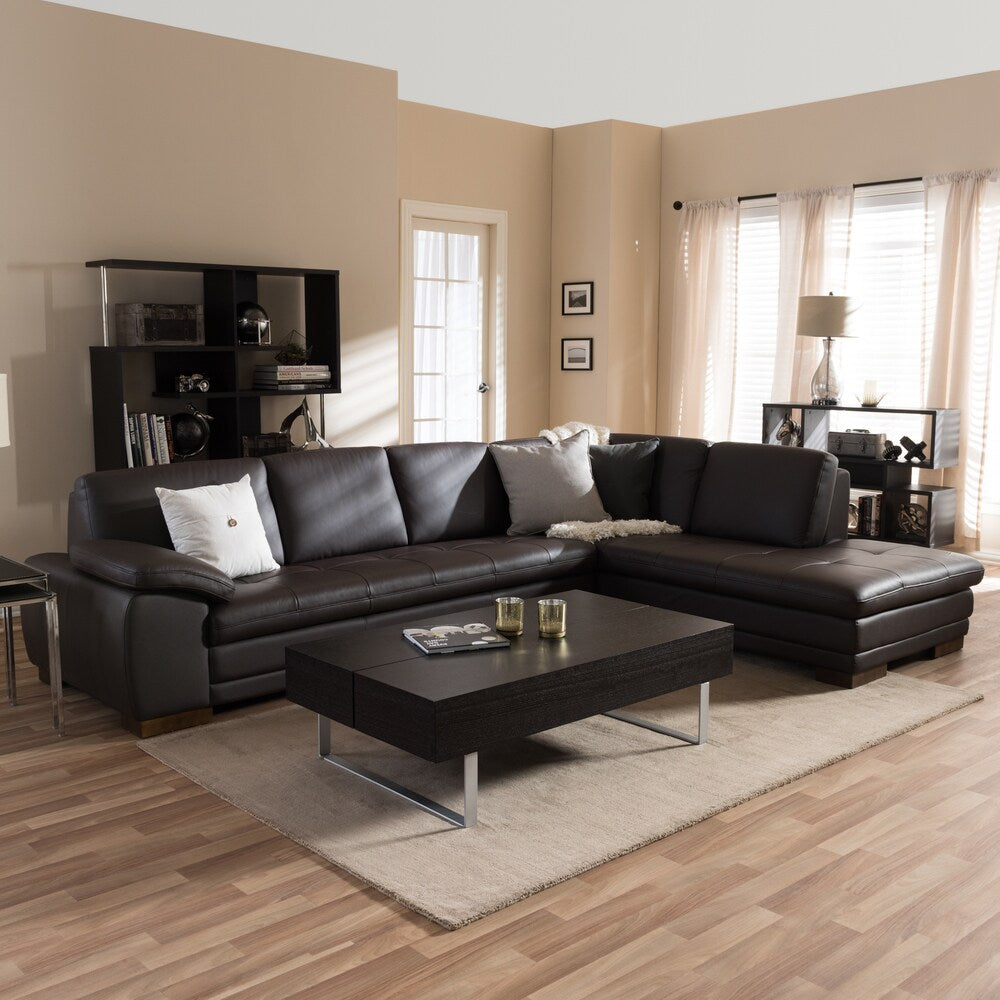 Diana Dark Brown Leather Sectional Sofa Set - RoomsandDecor.com