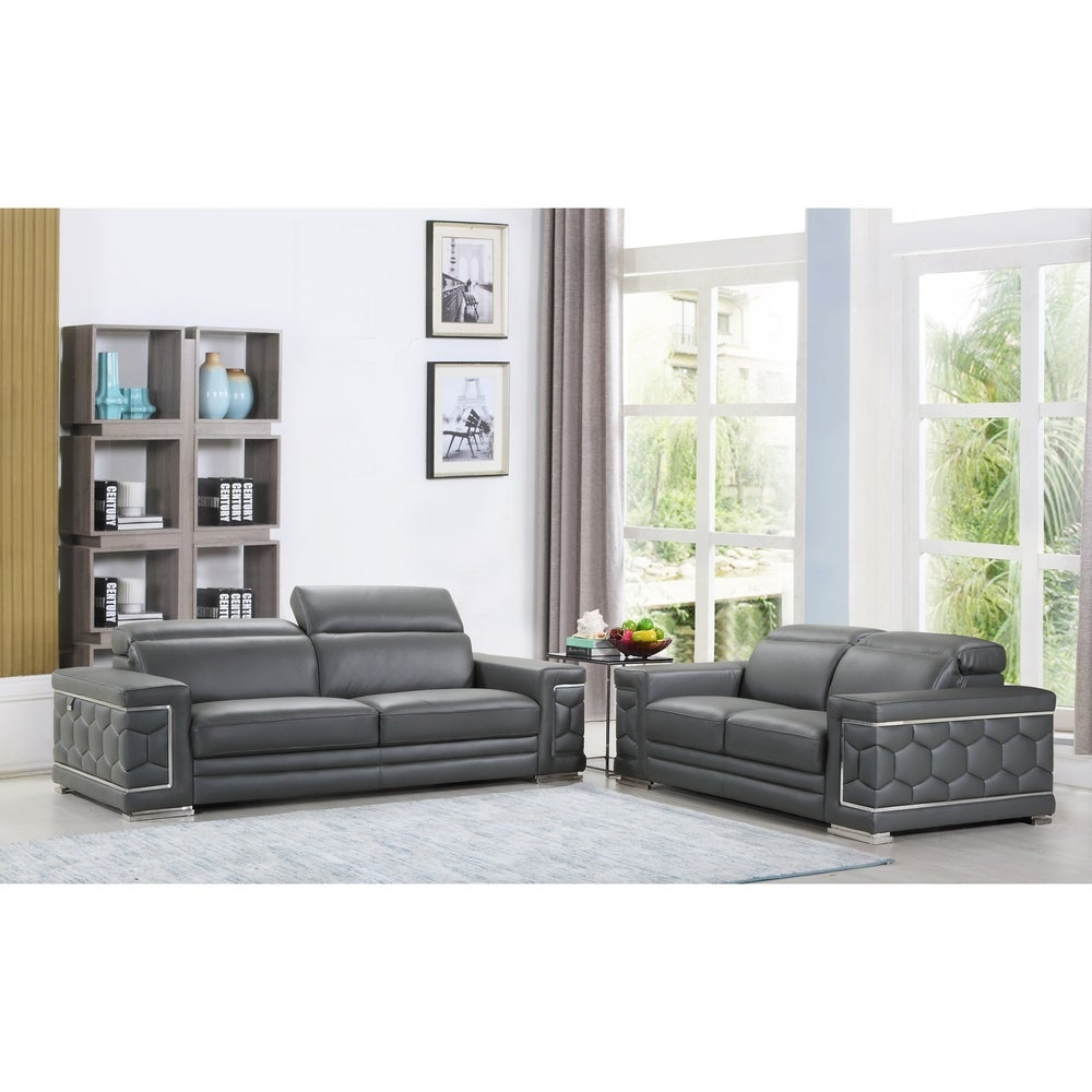 DivanItalia Ferrara Luxury Italian Leather Upholstered 2-Piece Living Room Sofa Set - RoomsandDecor.com