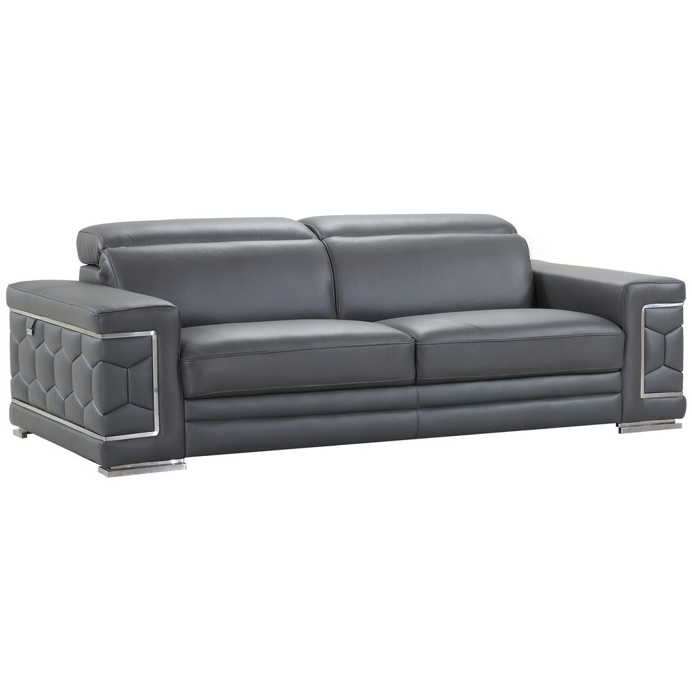DivanItalia Ferrara Luxury Italian Leather Upholstered Living Room Sofa - RoomsandDecor.com
