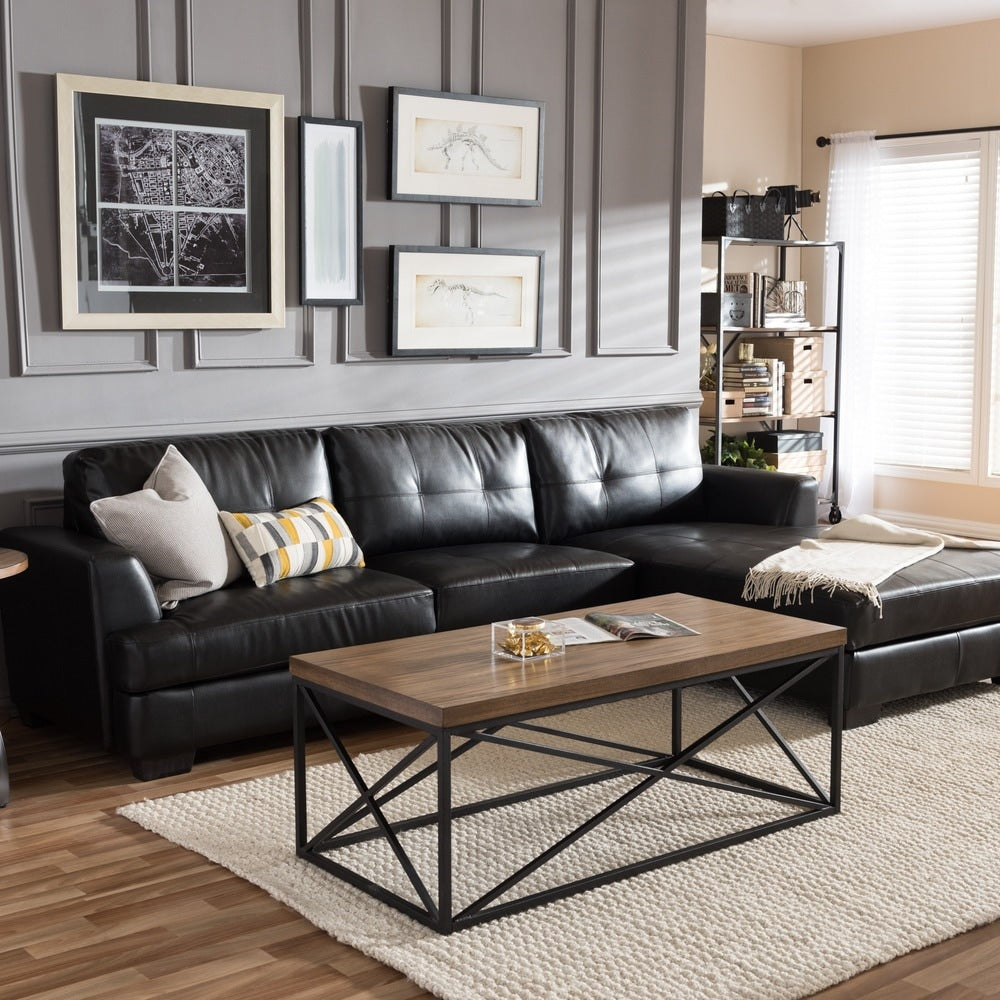 Dobson Black Leather Modern Sectional Sofa - RoomsandDecor.com
