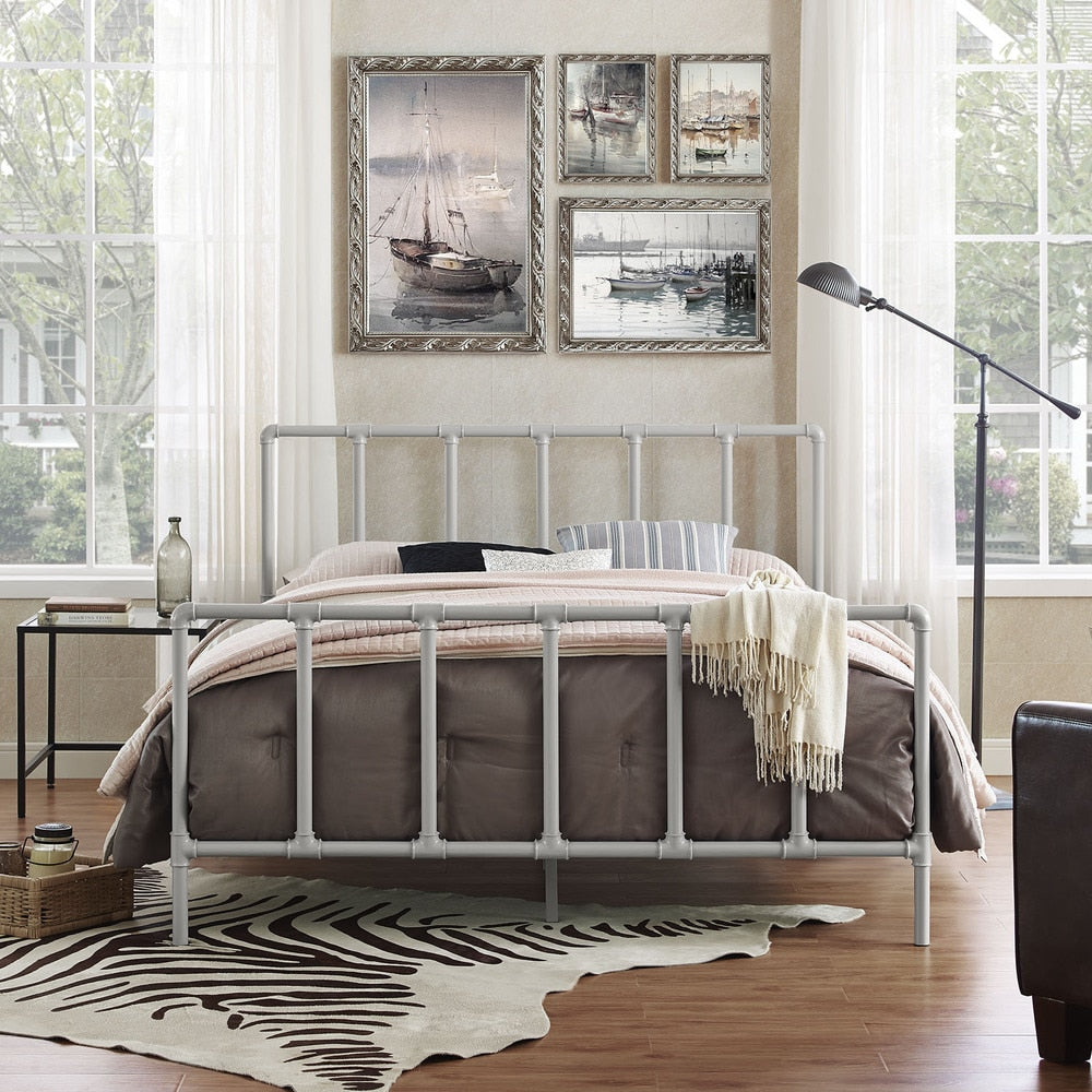Dower Stainless Steel Bed in Gray Size - Queen