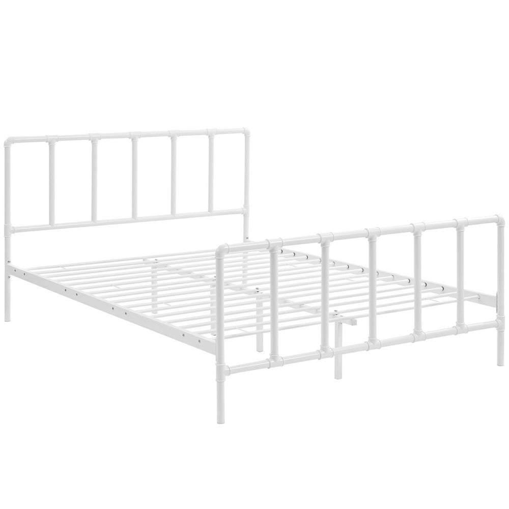 Dower Stainless Steel Bed in White