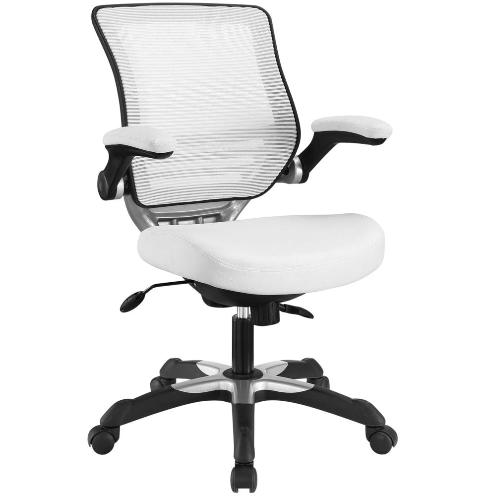 Edge Brown Mesh Back Faux Leather Office Chair - Grey