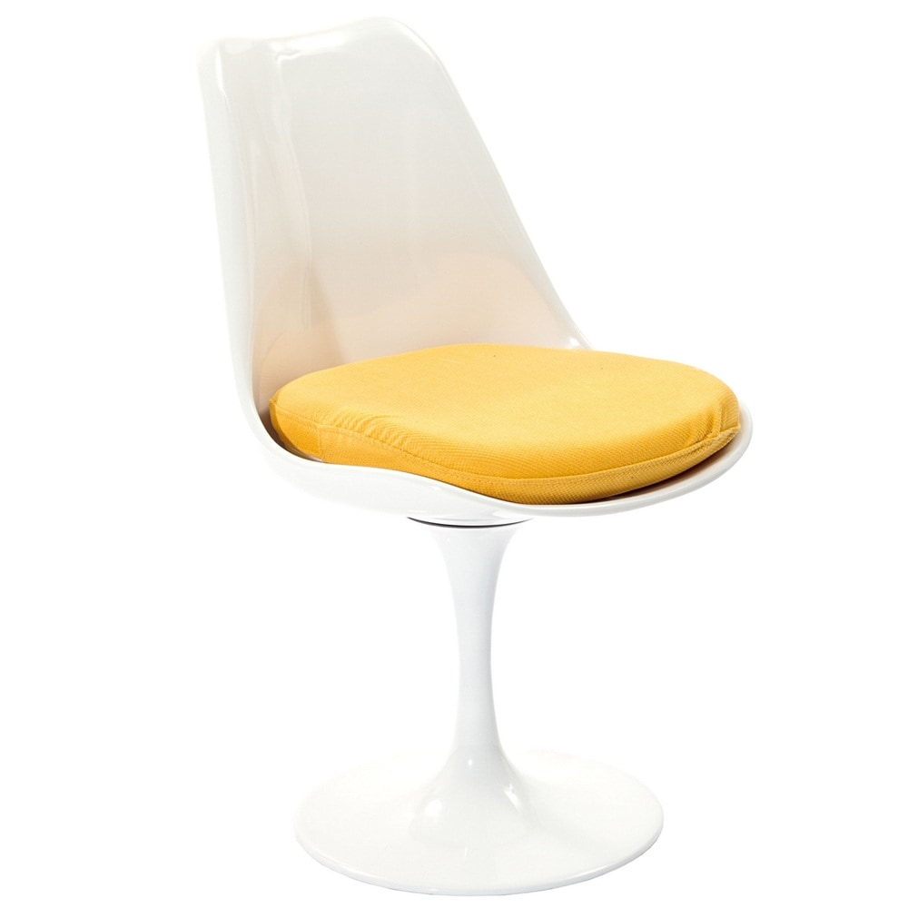 Eero Saarinen Style Tulip Dining Chair with Yellow Cushion