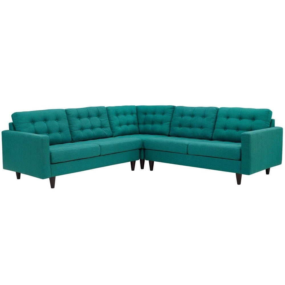 Empress 3 Piece Upholstered Fabric Sectional Sofa Set - TEAL