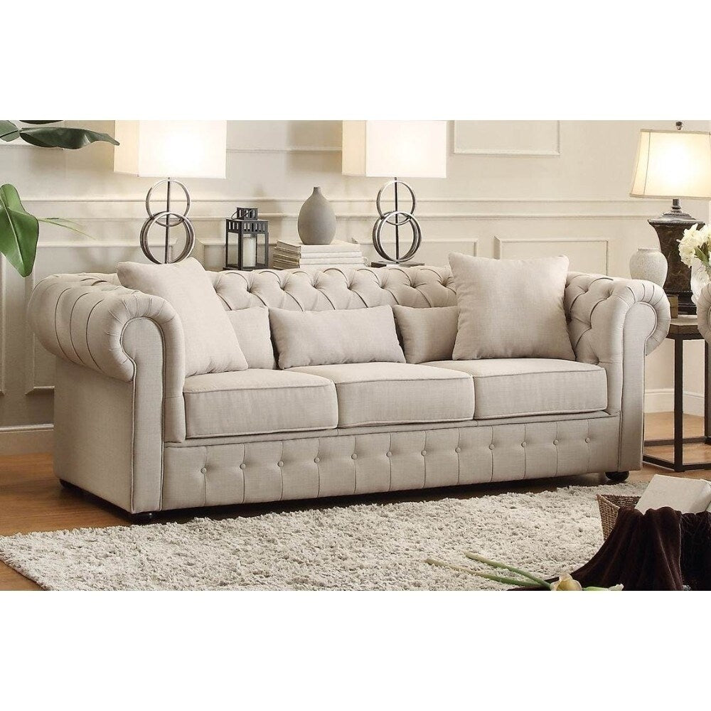 Fabric Upholstered Button Tufted Sofa - RoomsandDecor.com