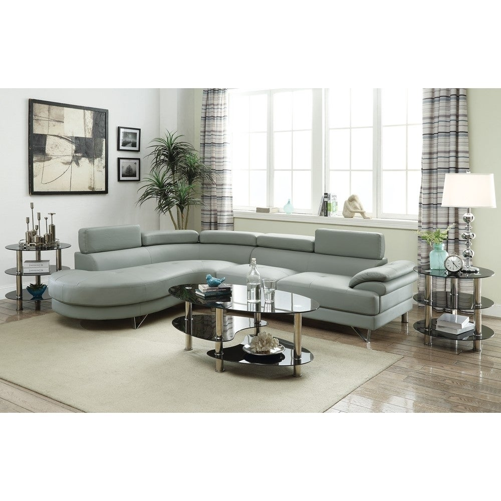 Faux Leather 2 Piece Sectional In Gray - RoomsandDecor.com