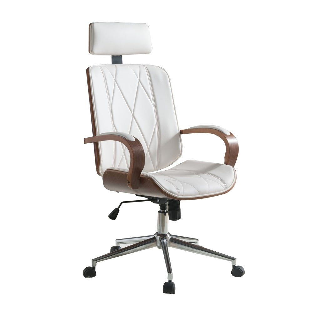 Faux Leather Office Chair Adjustable Height Swivel, White PU & Walnut brown - RoomsandDecor.com