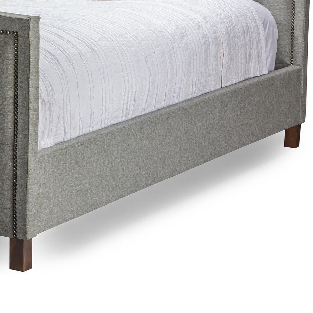 Sarter Contemporary Button-tufted Grey Fabric Upholstered King Bed - RoomsandDecor.com