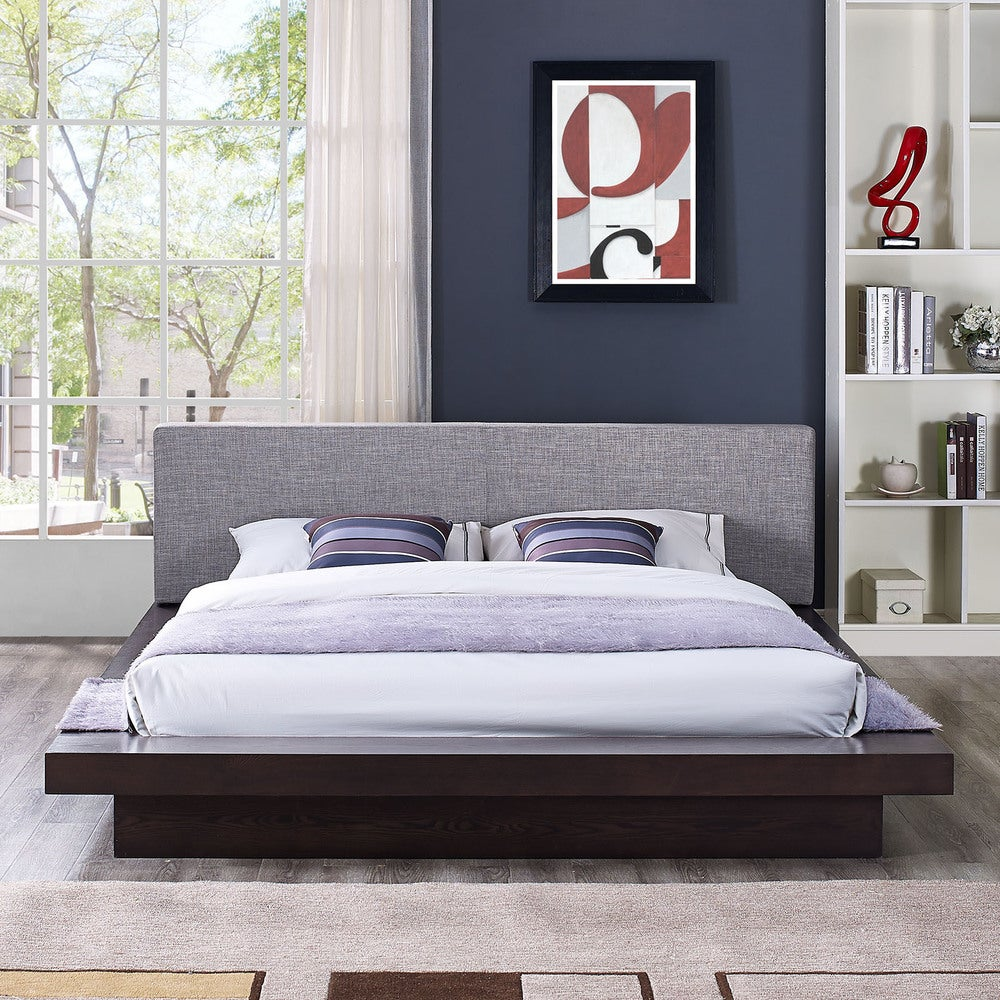 Freja Fabric Platform Queen-size Bed in Cappuccino Grey