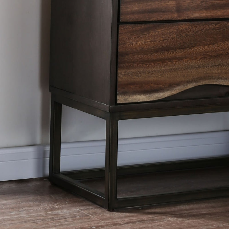 Bourdain Rustic Dark Walnut 2-drawer Nightstand - RoomsandDecor.com