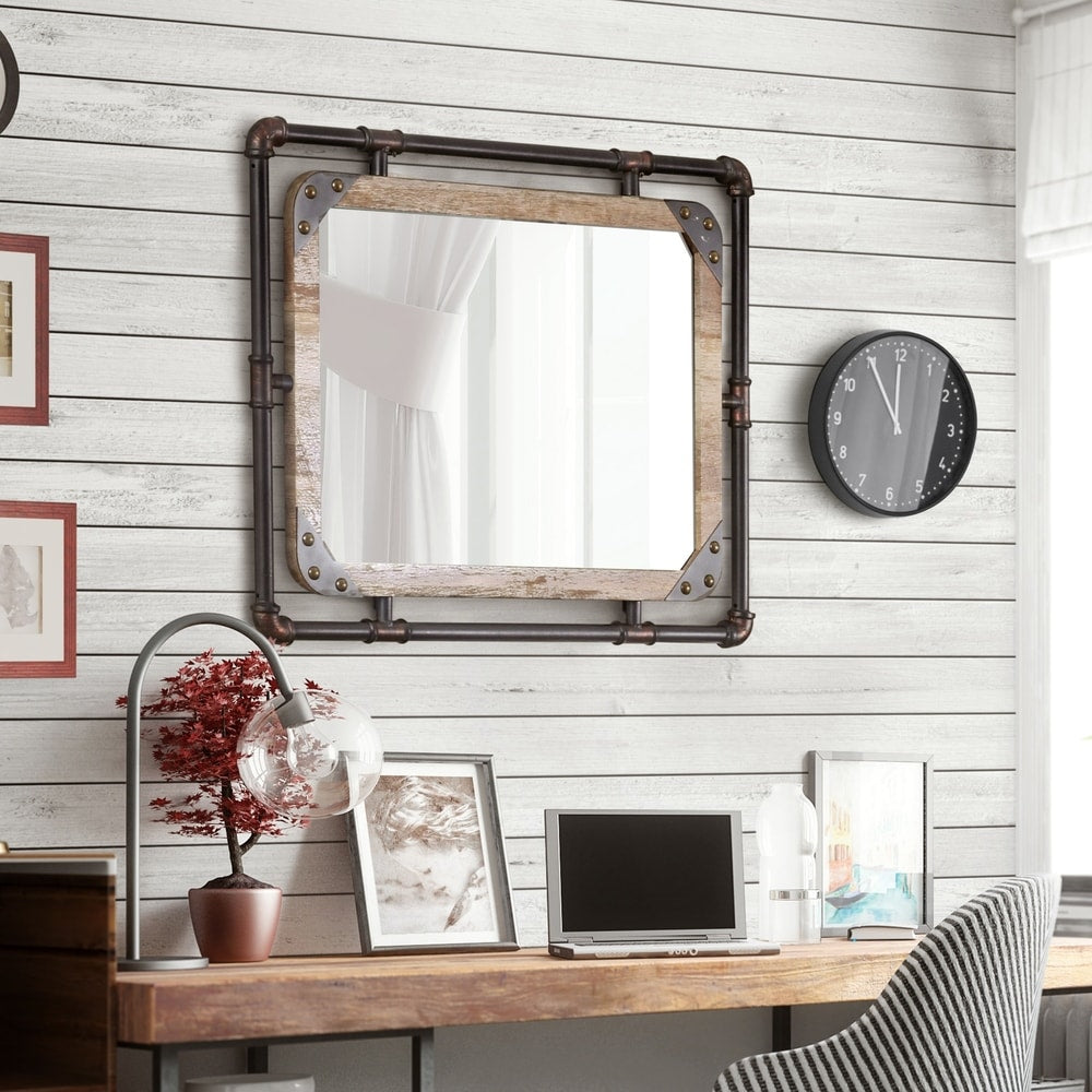 Industrial 31-inch Metal Wall Mirror - Natural