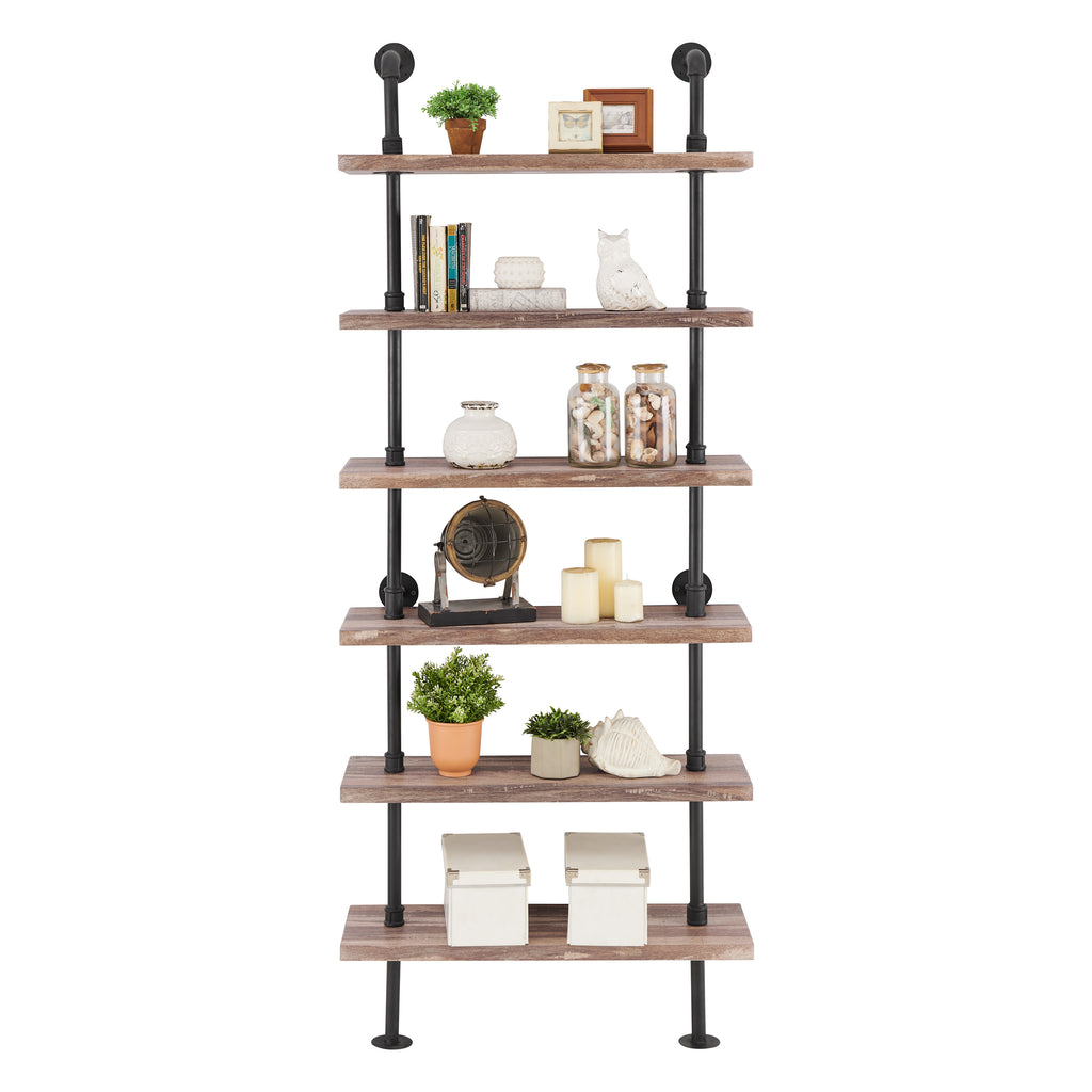 Industrial Modern Rustic 6-Tier Iron Pipe Wall Mount Ladder Shelving Unit