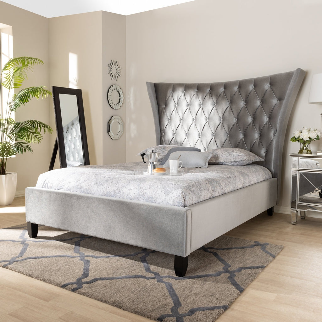Glam Tall Wingback Queen Bed - RoomsandDecor.com