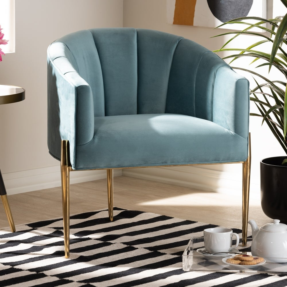 Glamorous Fabric Accent Chair - Navy - RoomsandDecor.com