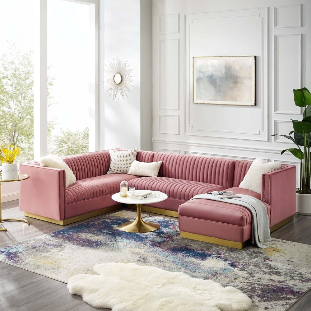 Glamour 3 Piece Performance Velvet Sectional Sofa Set - Dusty Rose