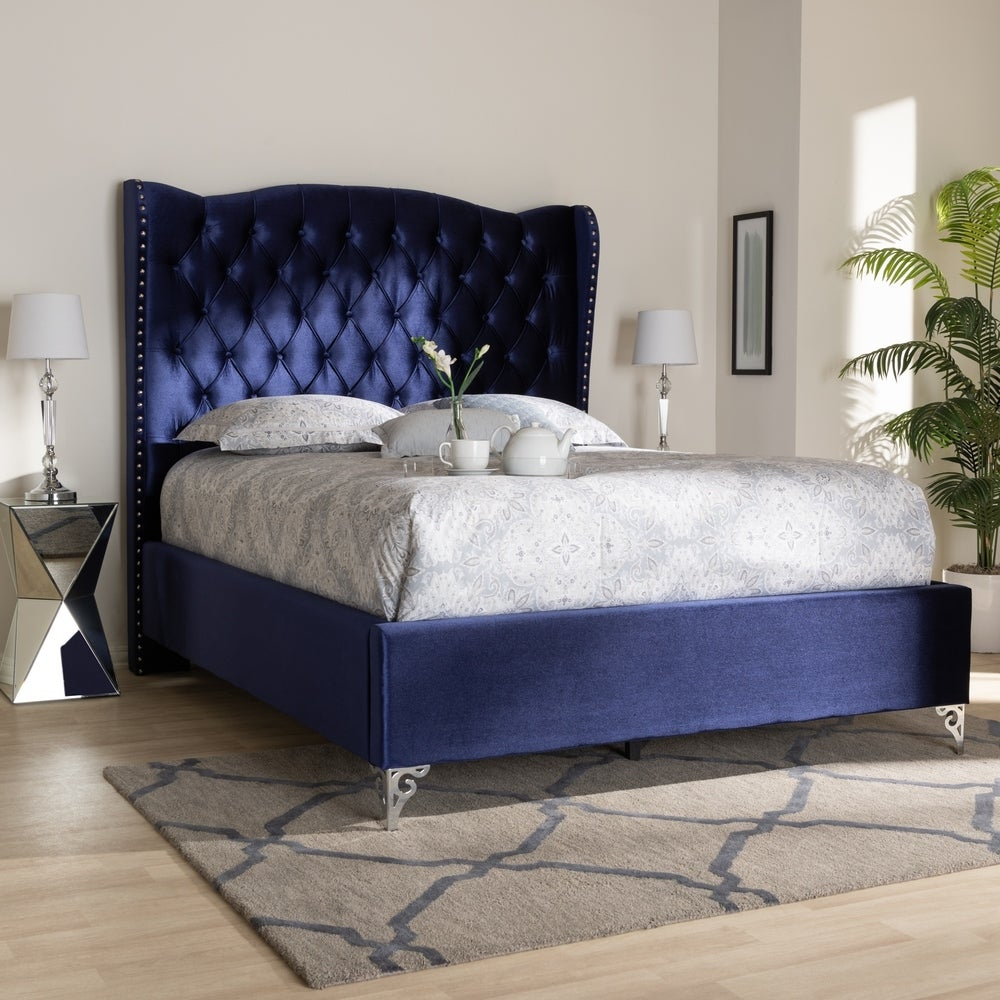 Glamour Fabric King Bed - RoomsandDecor.com