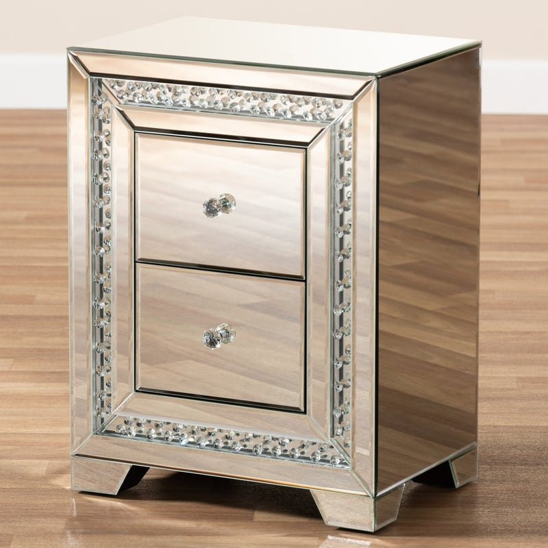 Glamour Style Mirrored 2-Drawer Nightstand - RoomsandDecor.com