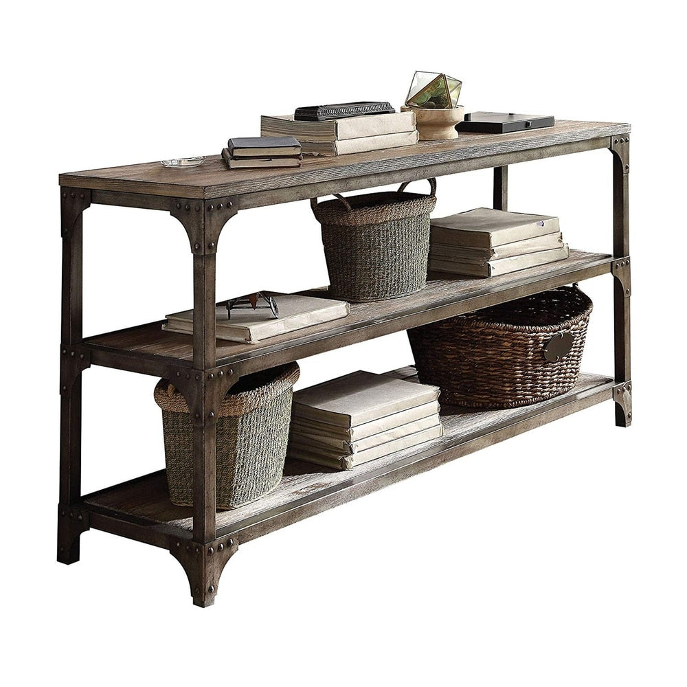 Gorden Console Table With 2 Shelves, Weathered Oak & Antique Silver - RoomsandDecor.com