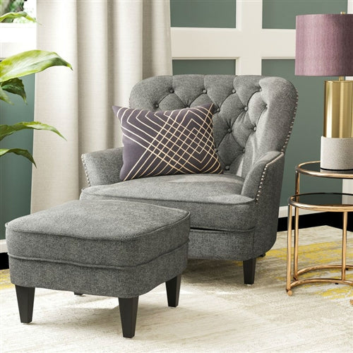 Cape Gray Club Armchair with Ottoman - RoomsandDecor.com