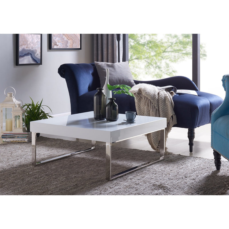 Enrique White Square Coffee Table with Chrome Legs - RoomsandDecor.com